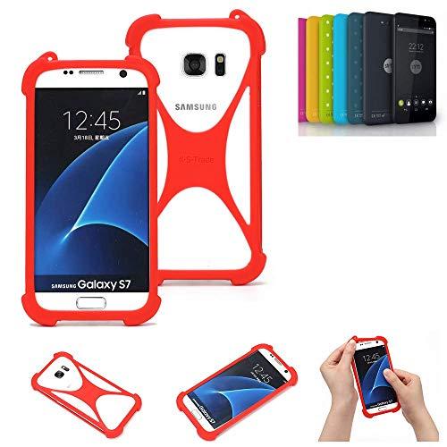 K-S-Trade® Handyhülle Für Shift Shift4.2 Schutzhülle Bumper Silikon Schutz Hülle Cover Case Silikoncase Silikonbumper TPU Softcase Smartphone, Rot (1x)