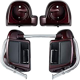 Advanblack Twisted Cherry Lower Vented Fairings Kit 6.5 inch Speaker Pods Fit for Harley Touring Road Glide Street Glide Road King Special 2018 2019