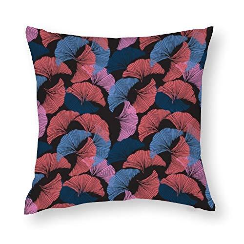 YY-one Fundas de almohada decorativas, coloridas sin costuras, dibujadas a mano, diseño de hojas de ginkgo, funda de cojín decorativa de algodón para sofá, silla, asiento, cuadrado, 45,7 x 45,7 cm