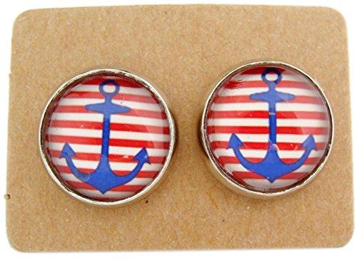 Miss Lovie Ohrstecker Nautische Anker Ohrringe Cabochon 12mm Ohrschmuck Blau Rot Silber - 3