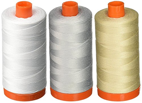 Discover Bargain 3-PACK - Aurifil 50WT - White + Dove + Light Beige, Solid - Mako Cotton Thread - 14...