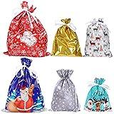 Hemoton - Lote de 25 bolsas de regalo gigantes de Navidad con corbatas y tarjeta...