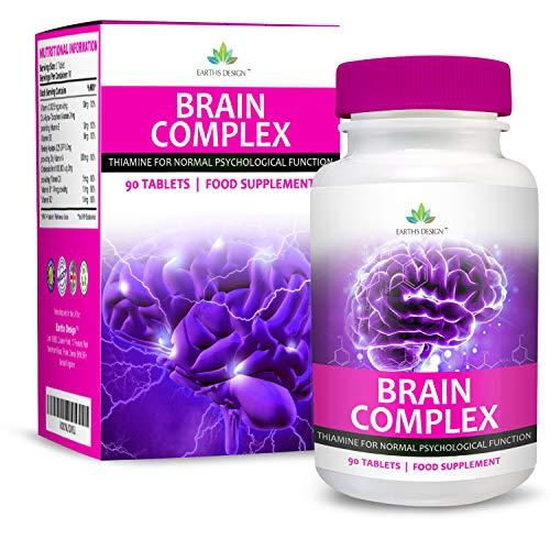 Complejo Estimulante Cerebral - Suplemento Vitamínico Nootrópico - Apto Para Vegetarianos - 90 Pastillas (Suministro Para 3 Meses) de Earths Design