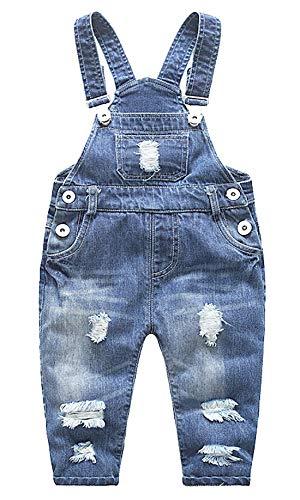 FEOYA Salopettes en Denim Bébé Fille Garçon Pantalons Combinaison Enfant pour Printemps Eté Automne - Hauteur recommandée:95-100cm