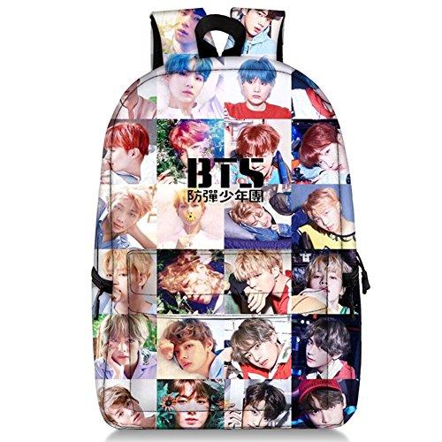 Bosunshine BTS Love Yourself V Suga Jin Jimin Jung Kook Mochila Casual Mochila Portatil Bolsa Colegio Libro Bolsa Escolar con Sombrero