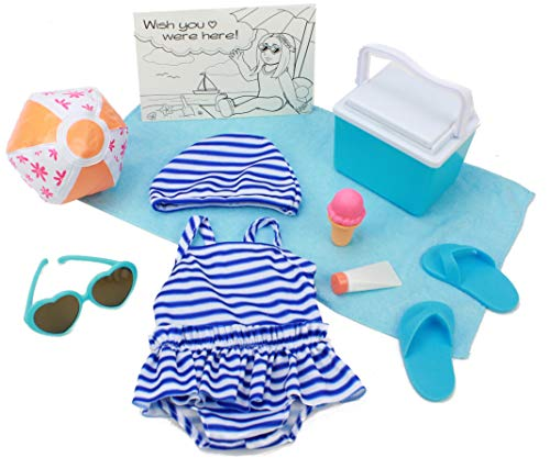 """Club Eimmie 18"""" Doll Clothing Playtime Packs - Doll Accessories, Doll Shoes, and Doll Clothes - Summertime Doll Outfit"""
