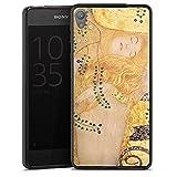 DeinDesign Silikon Hülle kompatibel mit Sony Xperia E5 Hülle schwarz Handyhülle Klimt Kunst Wasserschlangen