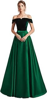 Ruolai Off The Shoulder Velvet Evening Dress Long A Line Satin Skirt Green Prom Gown