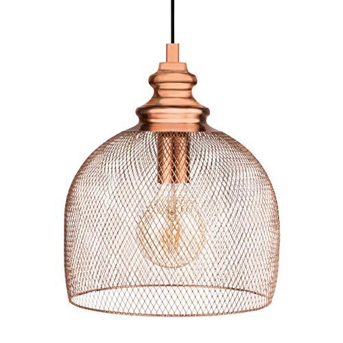 EGLO Pendelleuchte Straiton, 1 flammige Hängelampe Industrial, Vintage, Hängeleuchte aus Stahl in Kupfer, Esstischlampe, Wohnzimmerlampe hängend mit E27 Fassung