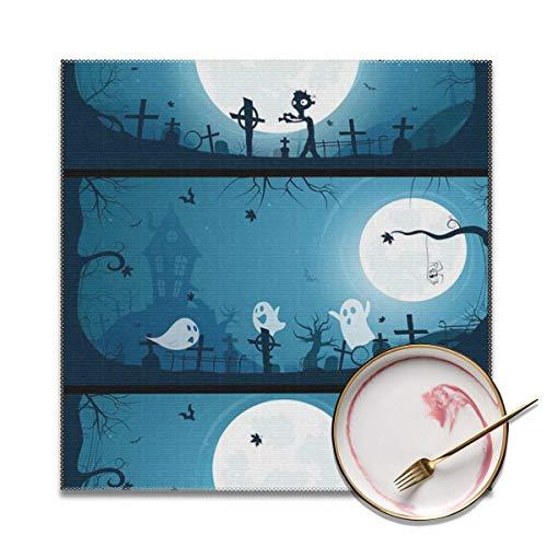 Houity - Juego de 4 banderines de Halloween con luna llena grande,...
