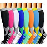 CHARMKING Compression Socks for Women & Men Circulation 15-20 mmHg is Best Graduated Athletic for Running, Flight Travel, Support, Pregnant, Cycling - Boost Performance, Durability (L/XL, Multi 08)