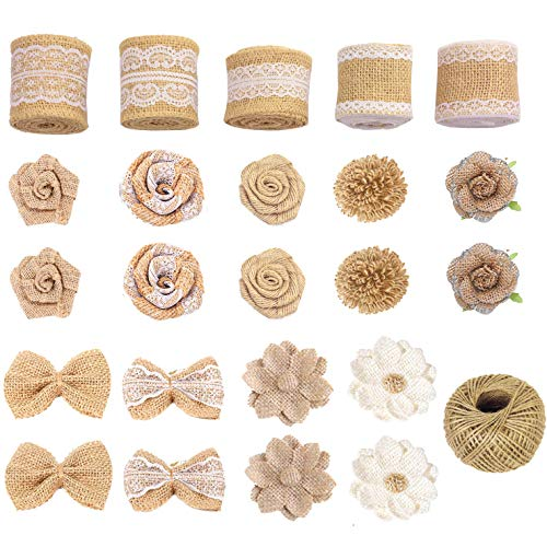 Aokbean 24pcs Mixed Burlap Ribbon Flowers Set with 98 Feet Jute Wine For Rustic Wedding/Party Decoration Home Decor Christmas Tree Topper/Hangs or DIY Crafts