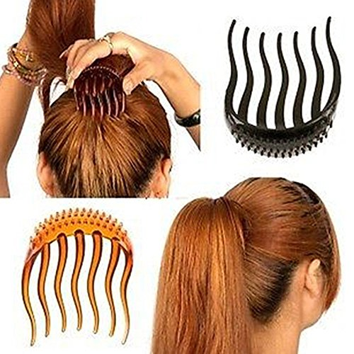 2pcs Multifunctional Plastic Hair Insert Comb Hair Donut Pads Ponytail Hair Bump IT Up Maker Hairdressing Styling Tool Beauty Hairdressing Accessories for Woman/Girl Black Coffee