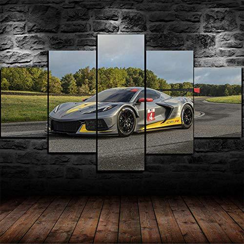 XHYUE 5 Piezas Cuadro sobre Lienzo Imagen Póster Chevrolet Corvette C8.R 2020 Impresión Pinturas Murales Decor Dibujo con Marco Fotografía 39.5x21.7 Inch(WxH)
