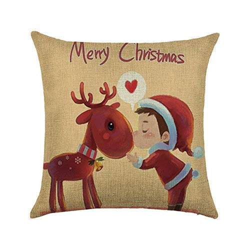 LPxdywlk Árbol De Navidad Santa Claus Elk Throw Pillow Case Funda De Cojín Home Sofa Festival Decoración Fotografía Atrezzo 3
