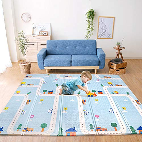 Bammax Play Mat, Foldable Baby Playmat Waterproof Reversible Kids Crawling Mat Extra Large Foam Floor Gym Activity Play Mat NonToxic Portable Tummy Time Playroom Mat for Infant Toddler - 70x78x 0.4IN