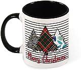 Divertente tazza da caffè in ceramica - Illustrazione di auguri di buon Natale albero verde per uomini / donne / compleanno / bicchieri di Natale bicchieri-nero-modello4