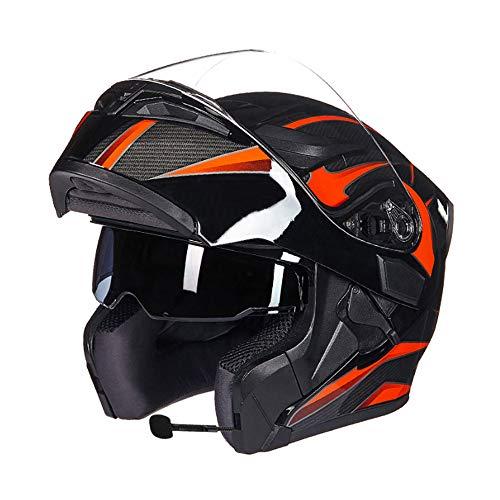 P&PDN Bluetooth geïntegreerde modulaire motorhelm met volledige gezichtsbescherming voor zonnebrillen M3-Walkie-talkie-helm met anti-condens 4-seizoenen Bluetooth-helm (afneembare binnen-gehoorbescherming)