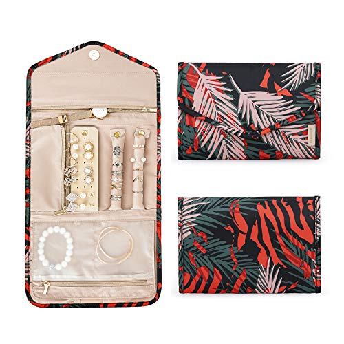 BAGSMART Travel Jewellery Organiser Roll Foldable Jewelry Case for Journey-Rings, Necklaces, Bracelets, Earrings, Red Fern