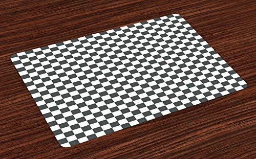 ABAKUHAUS Geruit Placemat Set van 4, klassiek Schaakbord, Wasbare Stoffen Placemat voor Eettafel, Grijs wit