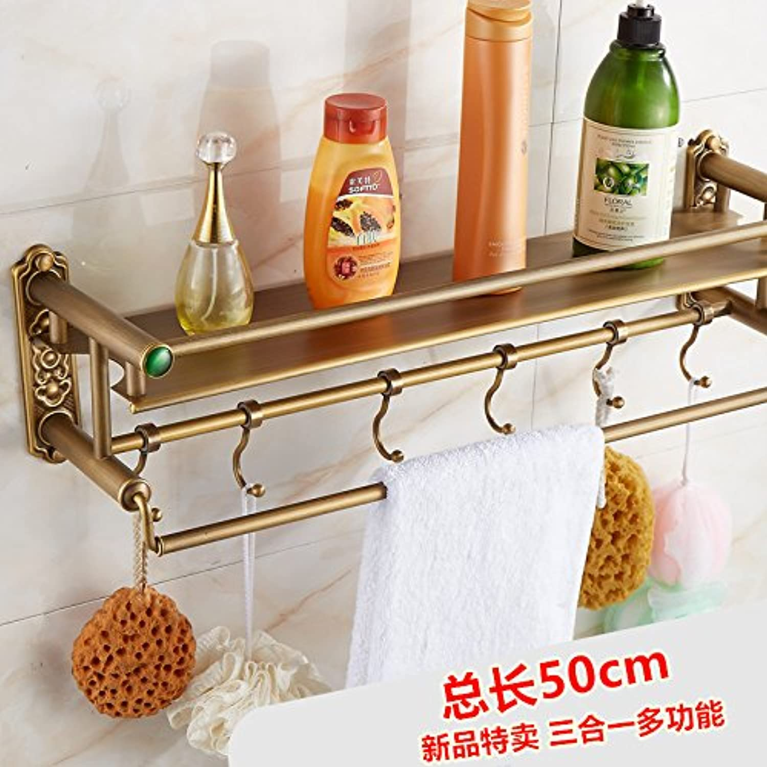 European antique copper bathroom double glass shelf,50cm-@wei