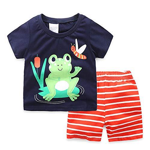 Fansu Pijamas Enteros de Manga Corta para Niños, Bebé Pijamas Dos Piezas Juego Verano Suave y Cómoda Ropa Algodón de Ajuste Niño Niña Camisetas y Pantalones