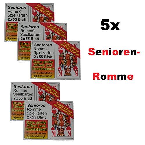 5x SENIOREN ROMME 2x 55 vellen spelkaarten Frans blad grote motieven