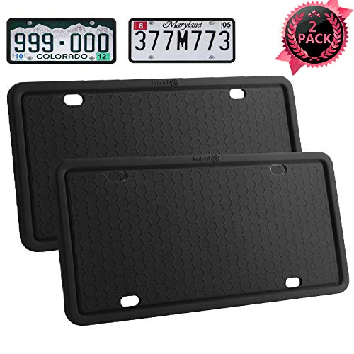 License Plate Frames-2PCS Silicone License Plate Covers Rust-Proof. Rattle-Proof. Weather-Proof.Shockproof for Automotive License Plate Frame - Black (Black-2 pack)