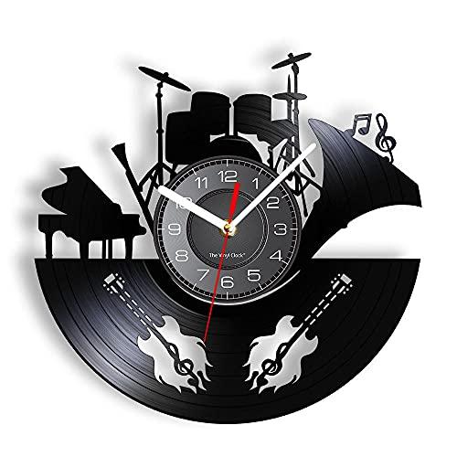 mbbvv Reloj de Pared con Disco de Vinilo, Pulsera de Instrumentos Musicales de Vinilo, Reloj de Pared en Vivo, Guitarra eléctrica, Piano, Tambor, Concierto Vocal, Manualidades artísticas