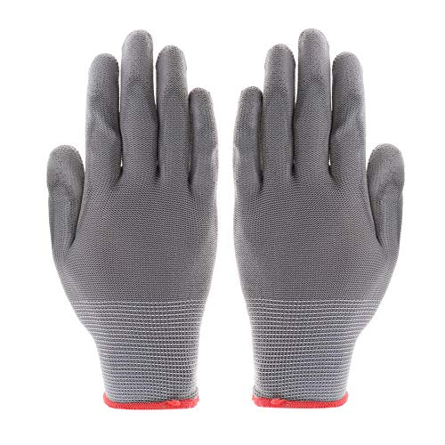 .a Guantes de seguridad de jardinería, guantes de seguridad de poliuretano, guantes de seguridad grises mitones