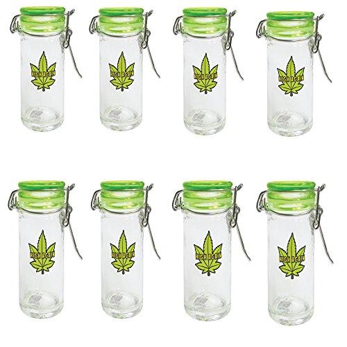 Mini Mason Jar 2.5 Ounce - Marijuana Pot Leaf Container and Smell Proof Stash Jar (4)