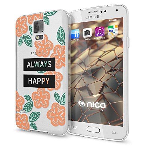 NALIA Custodia compatibile con Samsung Galaxy S5 S5 Neo, Cover Protezione Silicone Trasparente Sottile Case, Gomma Morbido Ultra-Slim Protettiva Telefono Bumper Guscio, Designs:Always Happy