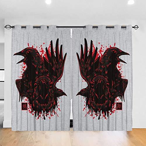 HONGYANW Maßgeschneiderte Verdunkelungsvorhänge Karasu Japan Krähenösen Thermo-Isolierender Vorhang für Schlafzimmer Wohnzimmer 132,2 x 182,9 cm