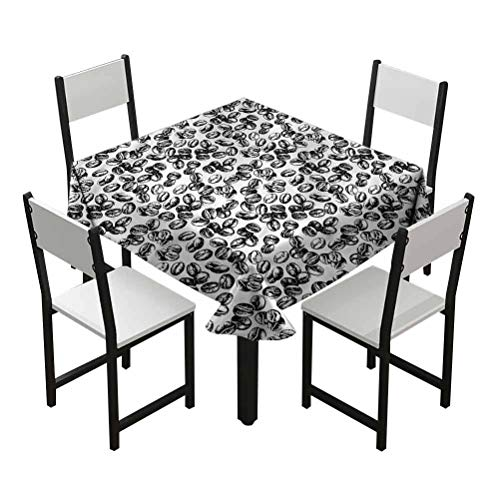 Flyerer Coffee Small Table Cloths squareStain Resistant and Spillproof Suitable for banquets, Parties Black Grunge Java Seeds Best Gifts Teens W55 xL55