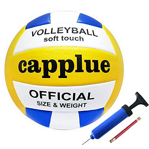 capplue Volleyball, Beachvolleyball Weicher Touch Volley Ball Training Beach Outdoor Indoor Spiel, und Funball Größe 5 Weicher Ballkontakt