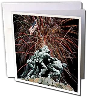 3dRose Marine Corp Memorial with Fireworks - Greeting Cards, 6 x 6 inches, set of 6 (gc_14248_1)