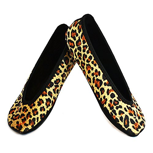 NuFoot Ballet Flats Women's Shoes, Best Foldable & Flexible Flats, Slipper Socks, Travel Slippers & Exercise Shoes, Dance Shoes, Yoga Socks, House Shoes, Indoor Slippers, Leopard Print, Extra Large