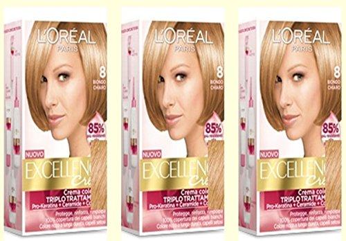 3 X L'OREAL EXCELLENCE CREME 8 BIONDO CHIARO Tintura per capelli colorazione