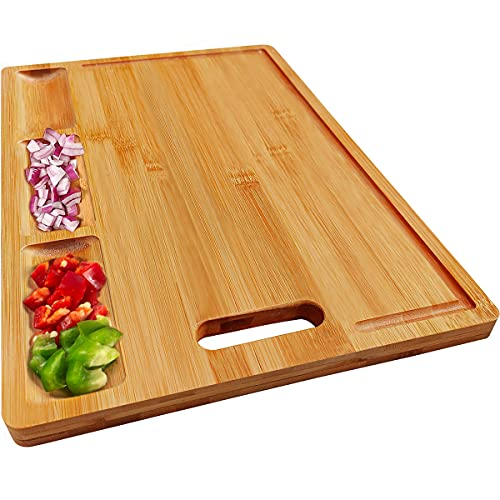 HHXRISE Organic Bamboo Cutting Board For Kitchen, With 3 Built-In Compartments And Juice Gr…
