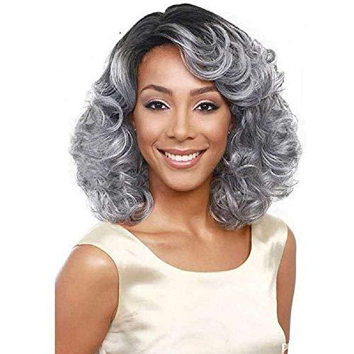 Yuyanshop Pelucas cortas de color gris plateado rizadas resistentes al calor de reemplazo pelucas sintéticas de aspecto natural peluca Cosplay pelucas (gris plata)