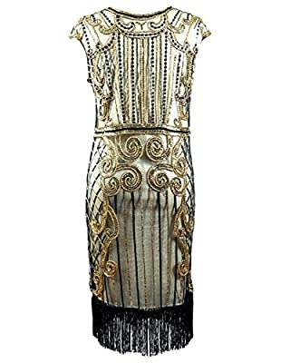 Women's 20s Gatsby Dress Syne Sun Vintage Inspired Sequined Fringed Long Flapper Dress