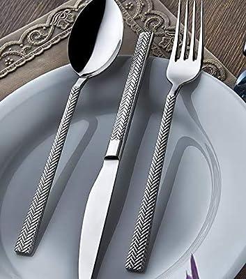 Silverware Set by Olinda Flatware Set 20 pc Service for 4 18/10 Real Stainless Steel Spoon and Fork set, Herringbone