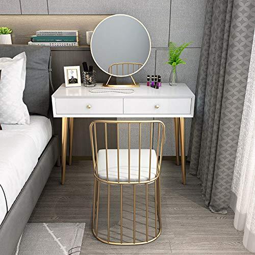 LGFSG Schminktisch Spiegel Organizer Schubladen Schreibtisch Schlafzimmer Goldener Eisentisch Moderne einfache kleine Apartmen Schminktisch Hocker Make-up Eitelkeit, 80cm Tischhocker