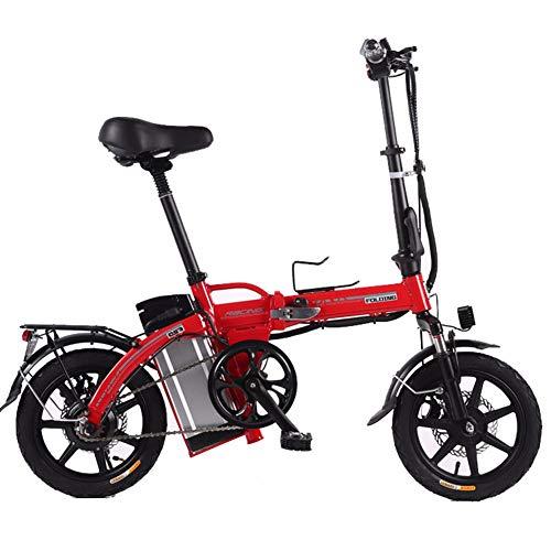 XCBY Elektromobilitäts-Dreirad, faltbares und tragbares Elektrofahrrad, Elektroroller für Erwachsene, maximaler 500-W-Motor, 45 km Lange Reichweite, mit LED-Licht und Display Red