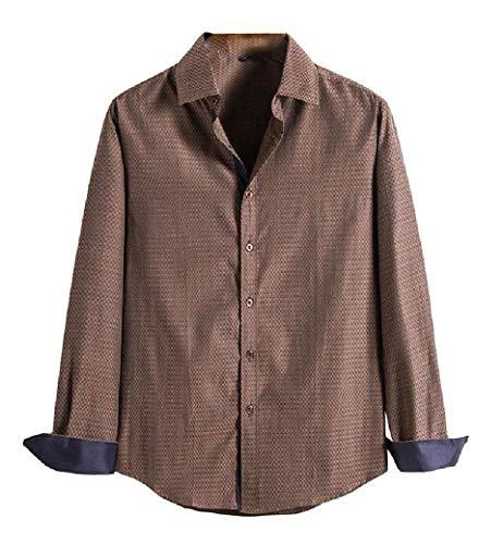 CuteRose Men Turn-Down Collar Pure Colour Button Down Relaxed Woven Shirt Brown L