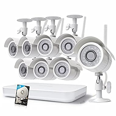 Zmodo Wireless Home Security Cameras System - 1080p 8CH HDMI NVR - 4 HD Wide Angle Weatherproof Outdoor Camera System