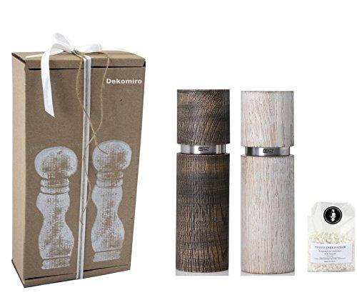 Dekomiro Adhoc zout- en pepermolen Textura antiek 20 cm zwart wit gratis 100 gr. Zout geschenkverpakking