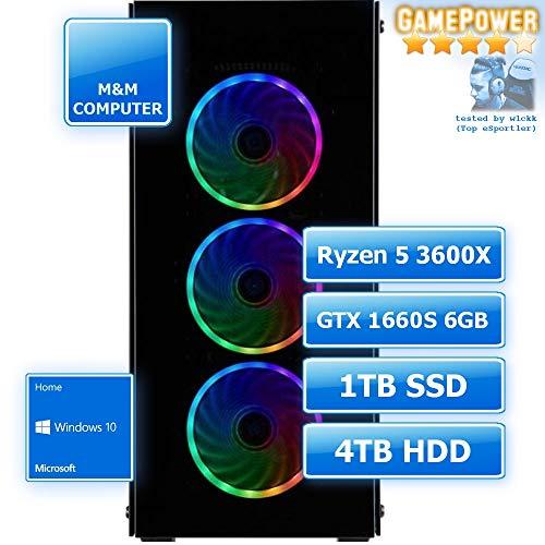 M&M Computer Dresden Gamer PC Ryzen, AMD Ryzen 5 3600X CPU, GTX1660 Super 6GB Gamer, 1TB SSD Festplatte, 4TB HD, 16GB RAM 2666MHz, Set mit MS-Windows 10, PC-Kauf-Empfehlung