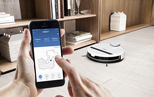 Ecovacs Robotics Deebot 900 Saugroboter mit intelligenter Navigation, App- und Alexa-Steuerung, 30 Watt, weiß