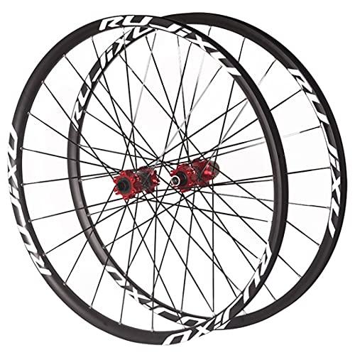LSRRYD Bicicleta Montaña Ruedas Juego 26/27.5/29 Pulgadas Doble Pared De Llanta 24H MTB Rueda Delantera Y Trasera Carbono Buje Eje Pasante Freno Disco 7-11 Velocidad (Color : Red, Size : 29 in)